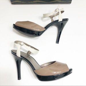 Moda Spana Tan/Black/Ivory Open Toe Slingback Heel